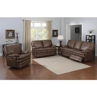 Melody Cognac Bonded Leather 3-piece Living Room Set