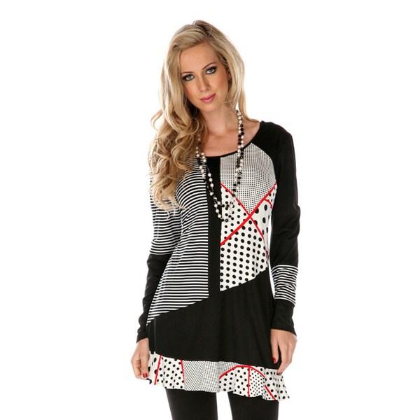 Firmiana Women's Multi-graphic Long Sleeve Spliced Tunic