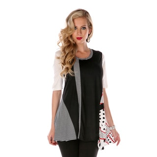 Women's Black and White Graphical Spliced Tunic