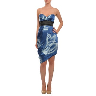 BCBG MAXAZRIA Women's Sapphire Print Silk Evening Dress