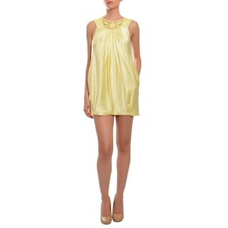 BCBG MAXAZRIA Women's Pale Yellow Silk Crocheted Mini Dress