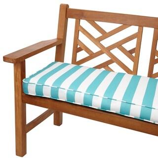 Aqua Stripes 48-inch Indoor/ Outdoor Corded Bench Cushion