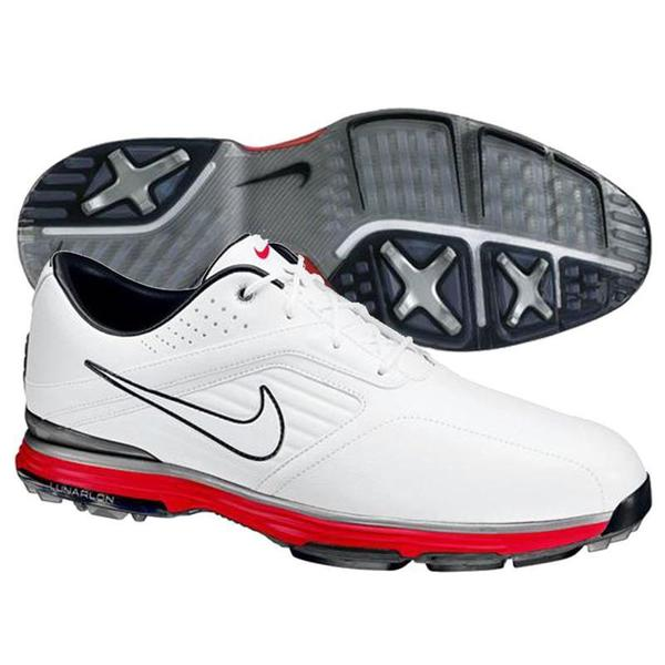 Nike Men's Lunar Prevail White/ Silver/ Red Golf Shoes