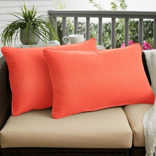 Melon Corded Indoor/ Outdoor 12 x 24 inch Lumbar Pillows with Sunbrella Fabric (Set of 2)