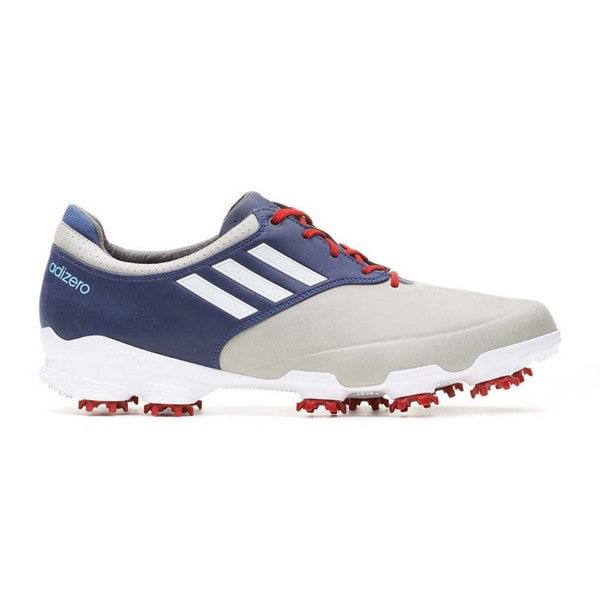 Adidas Men's Adizero Tour Light Grey/ White/ Uniform Blue Golf Shoes