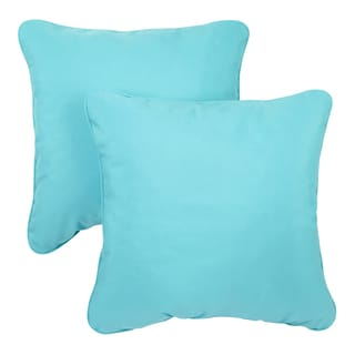 Aruba Blue Corded Indoor/ Outdoor Square Throw Pillows with Sunbrella Fabric (Set of 2)