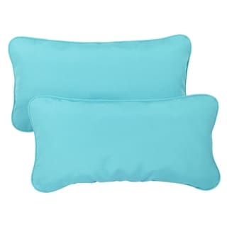 Aruba Blue Corded 12 x 24 inch Indoor/ Outdoor Lumbar Pillows with Sunbrella Fabric (Set of 2)