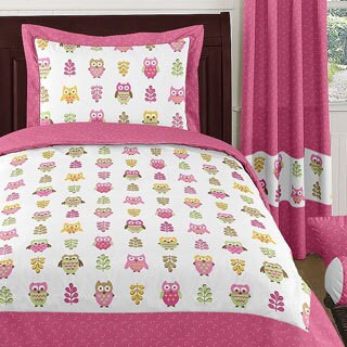 Sweet Jojo Designs Girls 'Happy Owl' 4-piece Twin Comforter Set