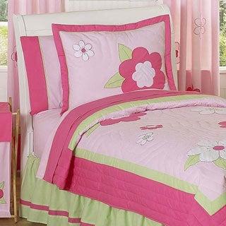Sweet Jojo Designs Girls 'Flower' 4-piece Twin Comforter Set