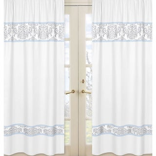 Sweet Jojo Designs Avery Grey/ Blue Curtain Panels (Set of 2)