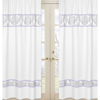 Sweet Jojo Designs Elizabeth Grey/ Lavender Damask Curtain Panels (Set of 2)