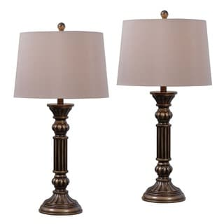Linton 1-light Aged Golden Bronze Table Lamps (Set of 2)