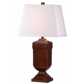 Eaton 1-light Mahogany Wood Table Lamps (Set of 2)