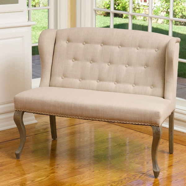 Christopher Knight Home Adrianna Wingback Button Tufted Fabric Loveseat 15952239 Overstock