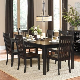 Zachary 7-piece Two-tone Sand-through Black/ Brown Extending Dining Set