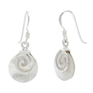 .925 Sterling Silver Mother of Pearl Swirl Dangle Earrings