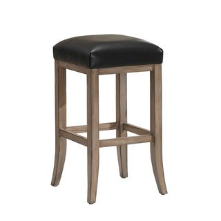 Deangelo Oak and Bonded Leather Bar Height Stool
