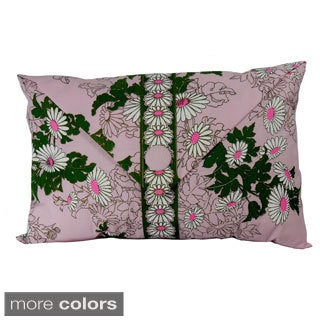 Hand-printed Daisy Envelope-front Throw Pillow