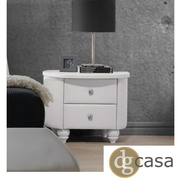 DG Casa Beverly Upholstered White Nightstand