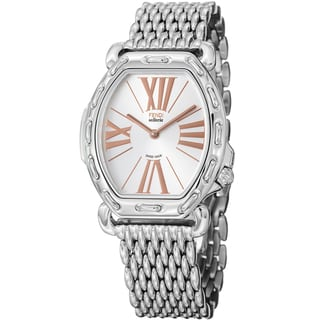 Fendi Women's F84336HBR8153 'Selleria' Silver Dial Tonneau Steel Quartz Watch