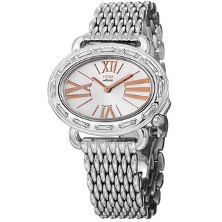 Fendi Women's F83336HBR8153 'Selleria' Silver Dial Tonneau Steel Quartz Watch
