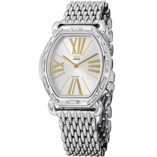 Fendi Women's F84236HBR8153 'Selleria' Silver Dial Stainless Steel Tonneau Watch