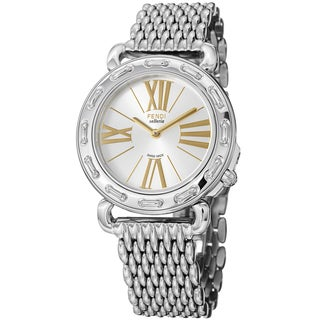 Fendi Women's F81236HBR8153 'Selleria' Silver Dial Stainless Steel Watch