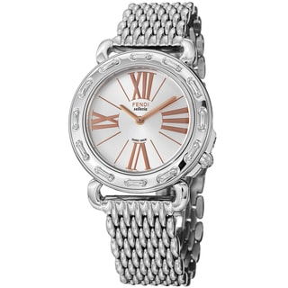 Fendi Women's F81336HBR8153 'Selleria' Silver Dial Stainless Steel Quartz Watch