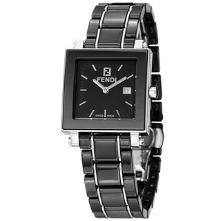 Fendi Women's F621110 'Ceramic' Black Dial Black Bracelet Date Watch