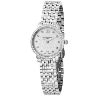 Frederique Constant Women's 'Slim Line' Stainless Steel Diamond Watch
