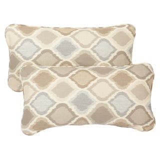 Beige/ Grey Indoor/ Outdoor Ogee Corded 12 x 24 inch Lumbar Pillows with Sunbrella Fabric (Set of 2)