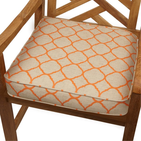 moroccan orange indoor outdoor 19 inch chair cushion with sunbrella