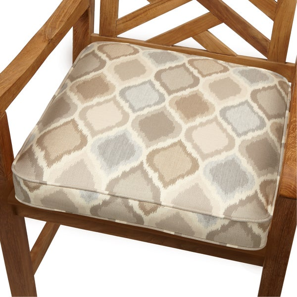 Beige/ Grey Ogee Indoor/ Outdoor 19-inch Chair Cushion with Sunbrella Fabric