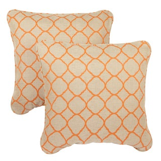 Moroccan Orange Corded Indoor/ Outdoor Square Throw Pillows with Sunbrella Fabric (Set of 2)