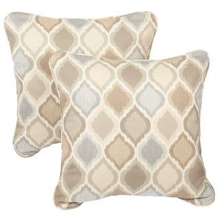 Beige/ Grey Indoor/ Outdoor Ogee Corded Square Throw Pillows with Sunbrella Fabric (Set of 2)