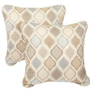 Beige/ Grey Ogee Corded Indoor/ Outdoor Square Throw Pillows with Sunbrella Fabric (Set of 2)