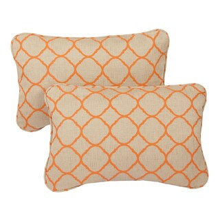 Moroccan Orange Indoor/ Outdoor Corded 13 x 20-inch Pillows with Sunbrella Fabric (Set of 2)