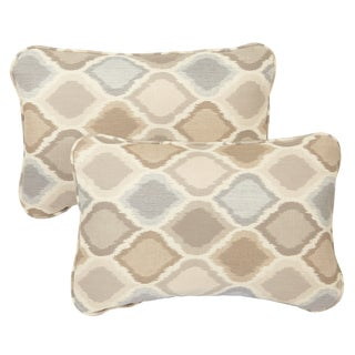 Beige/ Grey Indoor/ Outdoor Ogee Corded 13 x 20-inch Pillows with Sunbrella Fabric (Set of 2)