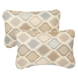 Beige/ Grey Ogee Corded 13 x 20 inch Indoor/ Outdoor Pillows with Sunbrella Fabric (Set of 2)
