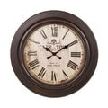Round 28-inch Vintage Brown Wooden Wall Clock