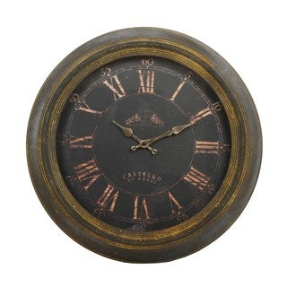Round 16.5-inch Vintage Yellow Metal Wall Clock