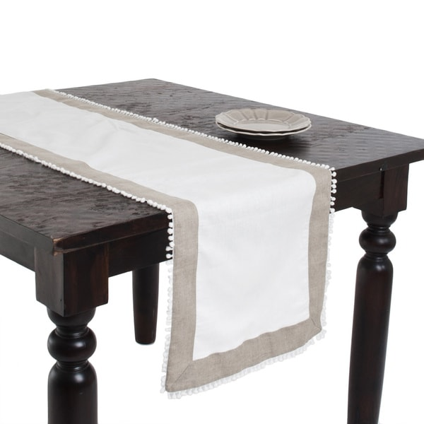 Two-tone Knotted Border Ivory Table Runner