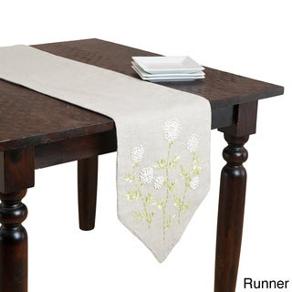 Ribbon Embroidered Floral Table Linens