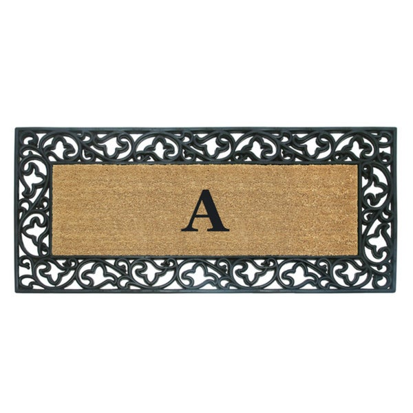 Wrought Iron Monogrammed Rubber/ Coir Door Mat (2' x 4'9)