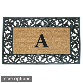 Wrought Iron Monogrammed Rubber/ Coir Door Mat (1'10 x 3')