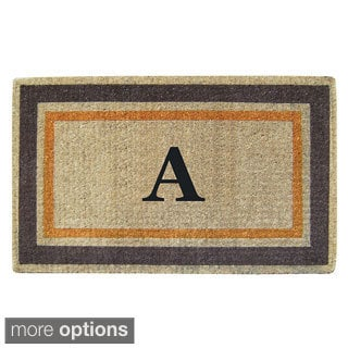 Handmade Monogrammed Double Picture Frame Orange Coir Door Mat (1'10 x 3')