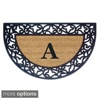 Wrought Iron Monogrammed Rubber/ Coir Door Mat (1'10 x 3' Half Moon)