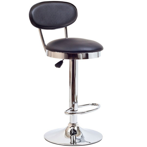 Black Vinyl Retro Adjustable Bar Stool 15954977