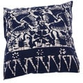 Transitional Cotton Blue 18-inch Decorative Accent Pillow