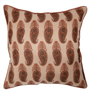 Paisley Cotton Red 20-inch Decorative Accent Pillow